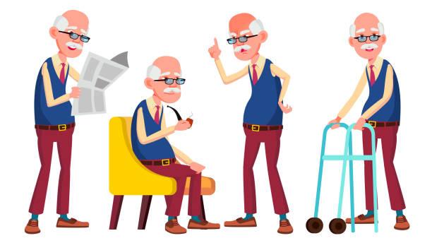 old man poses set vector. elderly people. senior person. aged. active grandparent. joy. presentation, print, invitation design. isolated cartoon illustration - old man standing drawings stock illustrations, clip art, cartoons, & icons