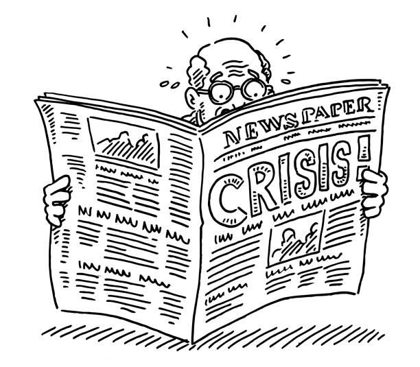 Old Man Reading Newspaper Shocking Crisis Drawing vector art illustration