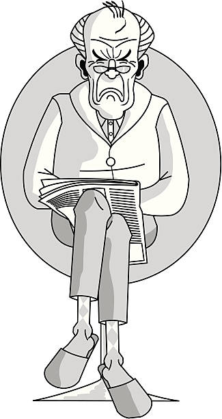 old man reading the newspaper - old man shoes stock illustrations, clip art, cartoons, & icons