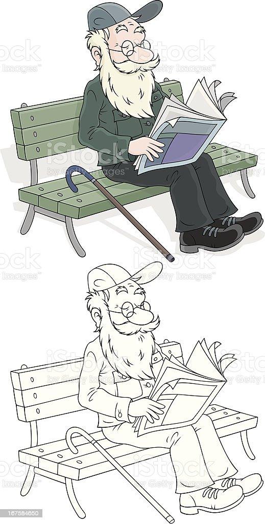 Old man reading royalty-free stock vector art