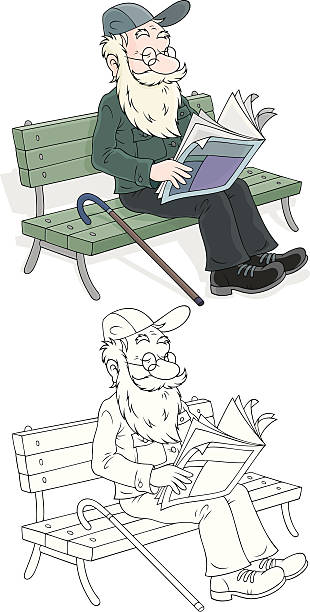 old man reading - old man sleeping drawing stock illustrations, clip art, cartoons, & icons