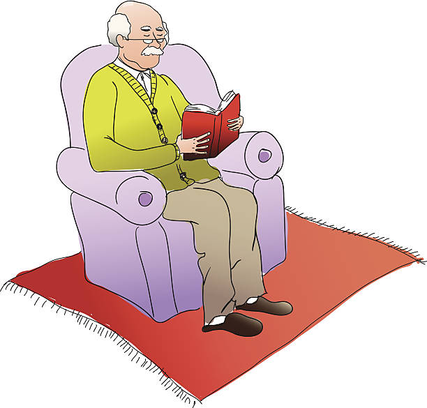 old man reading - old man shoes stock illustrations, clip art, cartoons, & icons