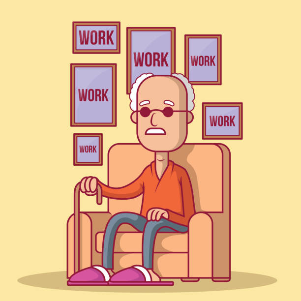 old man remembering is life of work vector illustration. - old man pic cartoons stock illustrations, clip art, cartoons, & icons