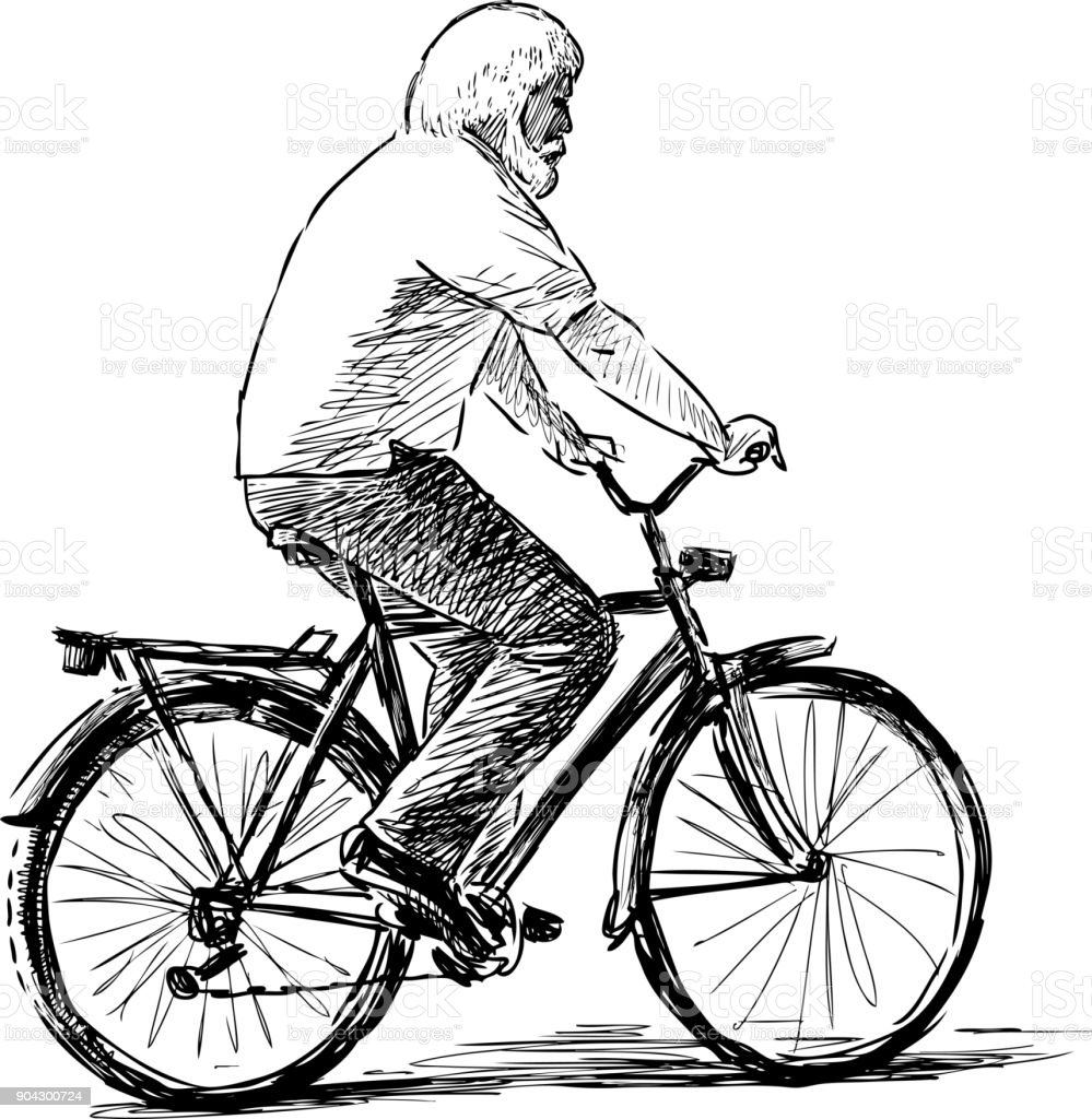 Old man rides a bicycle vector art illustration