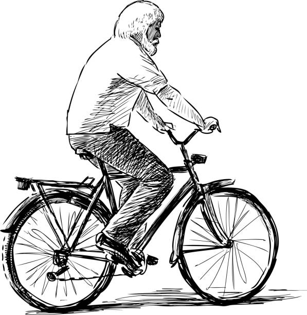 old man rides a bicycle - old man on bike stock illustrations, clip art, cartoons, & icons