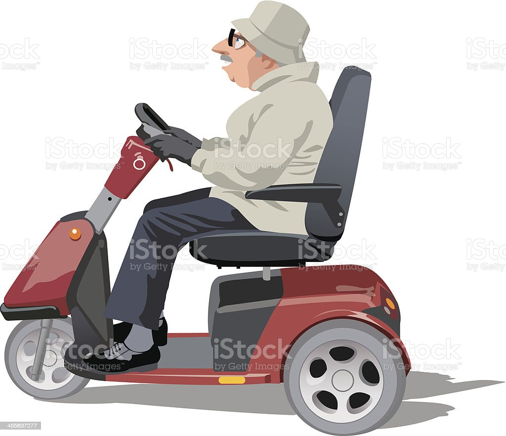 old man riding a mobility scooter vector art illustration