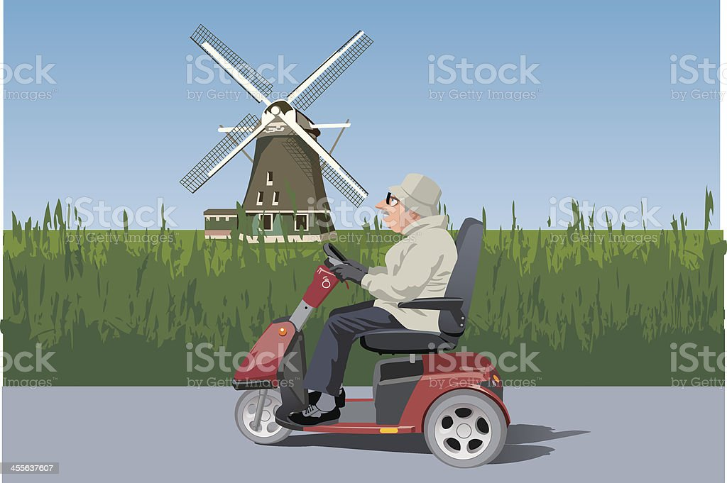 old man riding mobility scooter vector art illustration