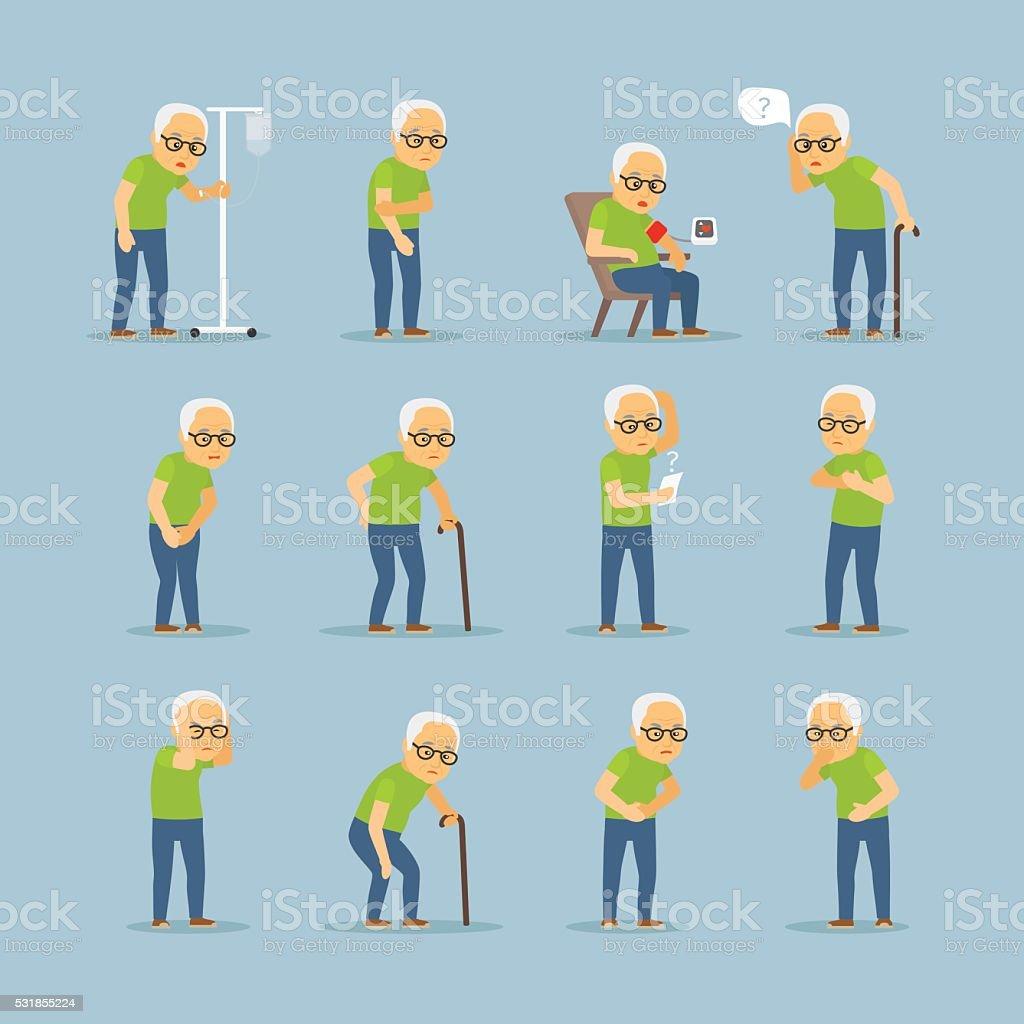 Hombre enfermo iconos - ilustración de arte vectorial