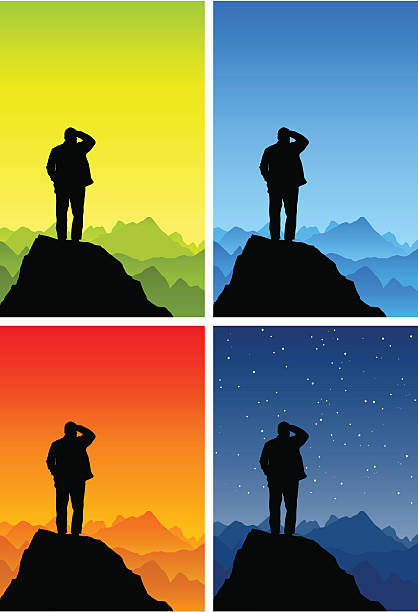 old man silhouette on a mountain top - old man standing background stock illustrations, clip art, cartoons, & icons