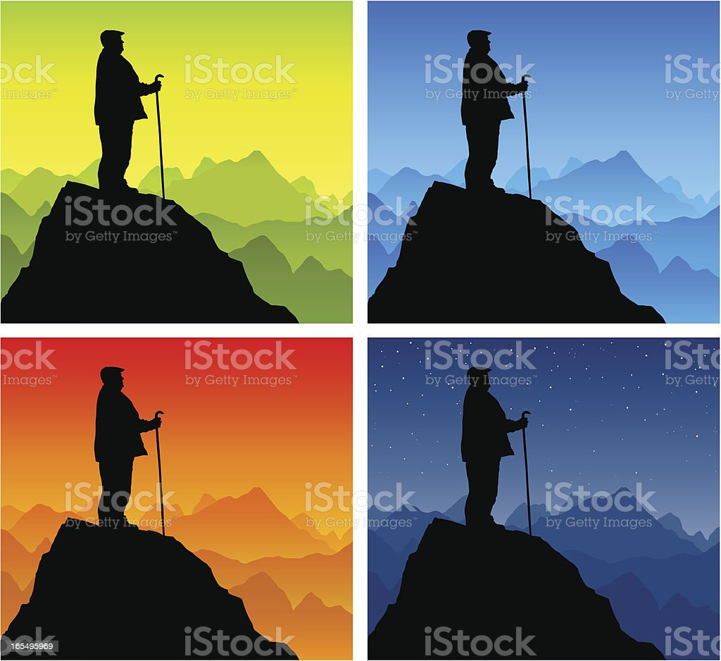 Old Man Silhouette Standing On Mountain Top Stock Vector ...