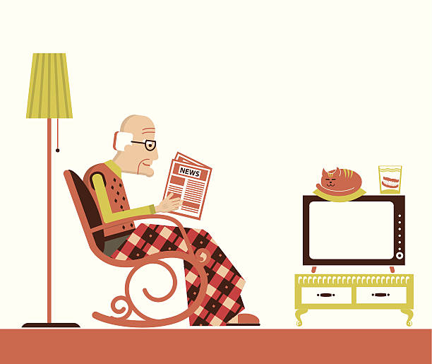 old man sitting and reading newspaper - old man rocking chair cartoon stock illustrations, clip art, cartoons, & icons