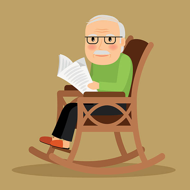 old man sitting in rocking chair and newspaper - old man sitting chair silhouettes stock illustrations, clip art, cartoons, & icons