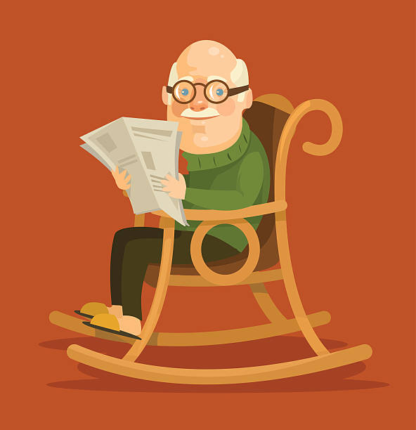 old man sitting in rocking chair - old man sitting backgrounds stock illustrations, clip art, cartoons, & icons