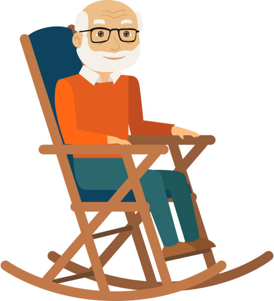 old man sitting in rocking chair. vector. - old man sleeping silhouettes stock illustrations, clip art, cartoons, & icons
