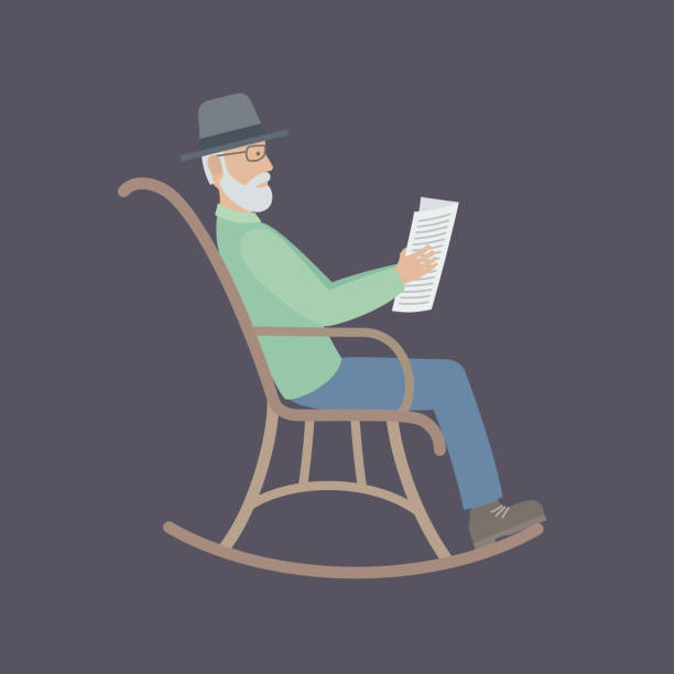 old man sitting on a chair - old man rocking chair cartoon stock illustrations, clip art, cartoons, & icons