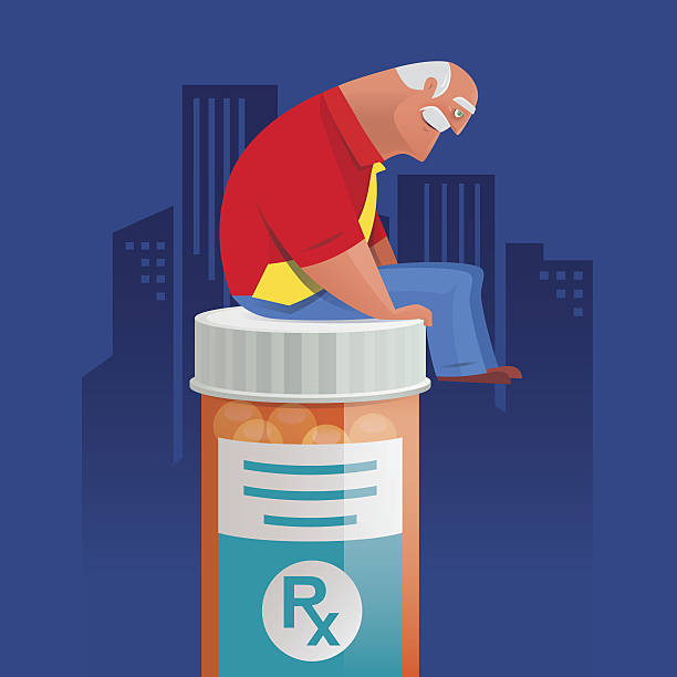 old man  sitting on pill bottle and thinking - old man funny cartoon stock illustrations, clip art, cartoons, & icons