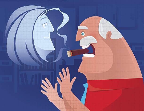 old man smoking cigar - old man smoking cigar stock illustrations, clip art, cartoons, & icons