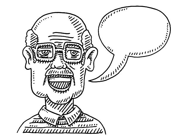 old man talking speech bubble drawing - old man portrait drawing stock illustrations, clip art, cartoons, & icons