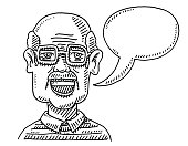 Old Man Talking Speech Bubble Drawing