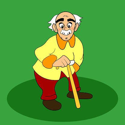 Old Man Vector Cartoon Comic Character White Gray Hair Mustache-vektorgrafik och fler bilder på 50-54 år