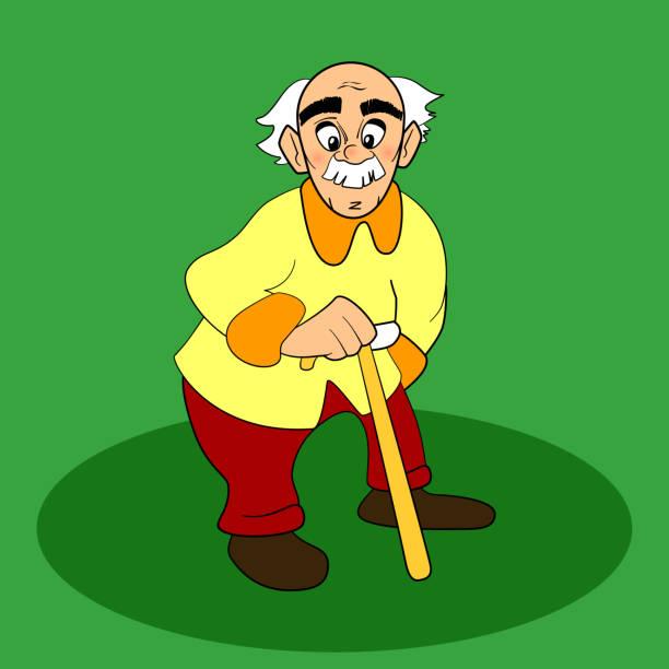 bildbanksillustrationer, clip art samt tecknat material och ikoner med old man. vector cartoon, comic character. white gray hair, mustache. - 55 59 år