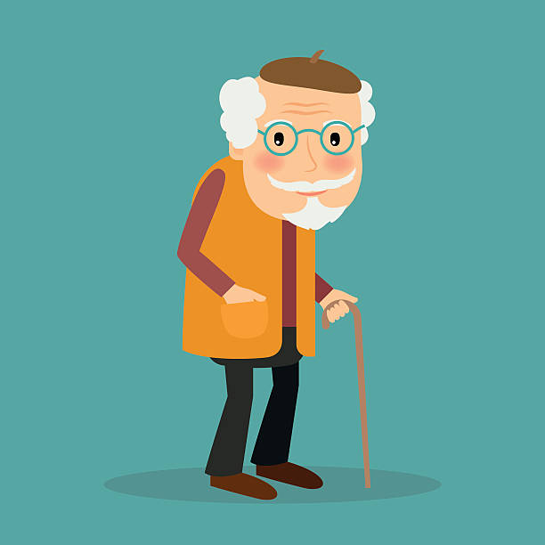 old man vector character - old man glasses silhouettes stock illustrations, clip art, cartoons, & icons