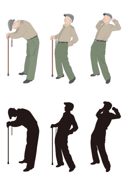 old man - old man on a back pain silhouette stock illustrations, clip art, cartoons, & icons