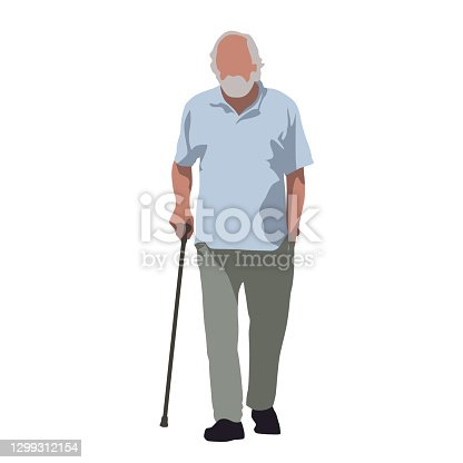 istock Old man walks and relies on cane. Flat vector illustration 1299312154