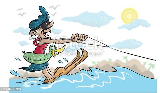Old man water skiing