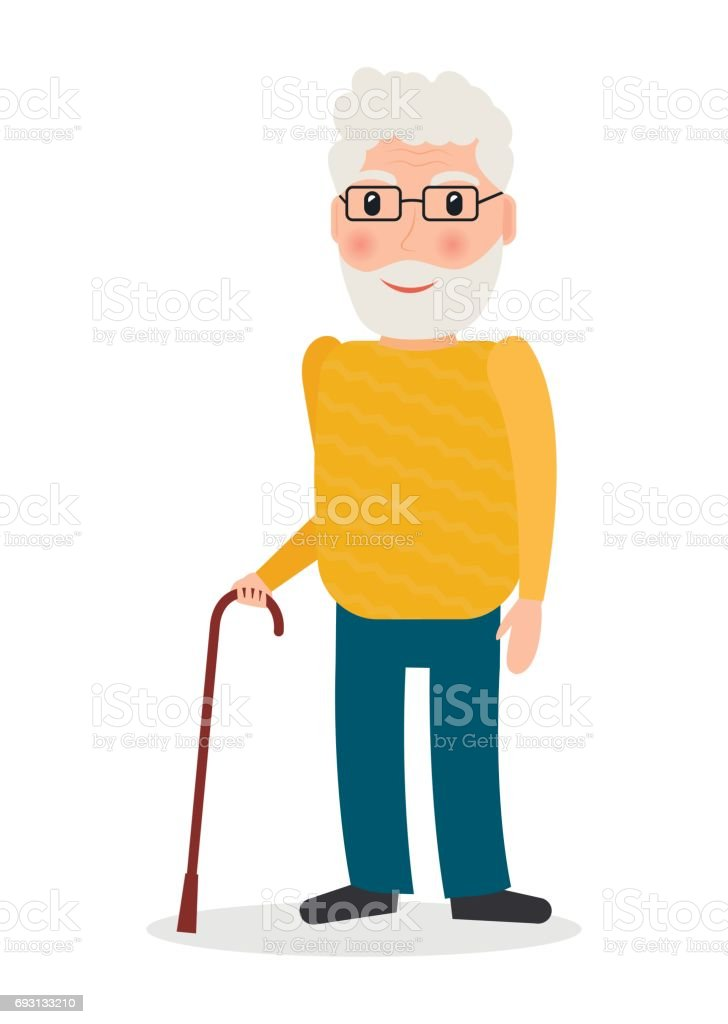 Old man wearing glasses and with cane in flat style. Grandpa character with walking stick vector illustration. vector art illustration