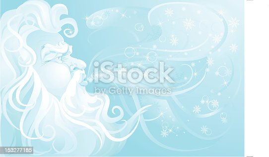 istock Old Man Winter blowing up a snowstorm. 153277185