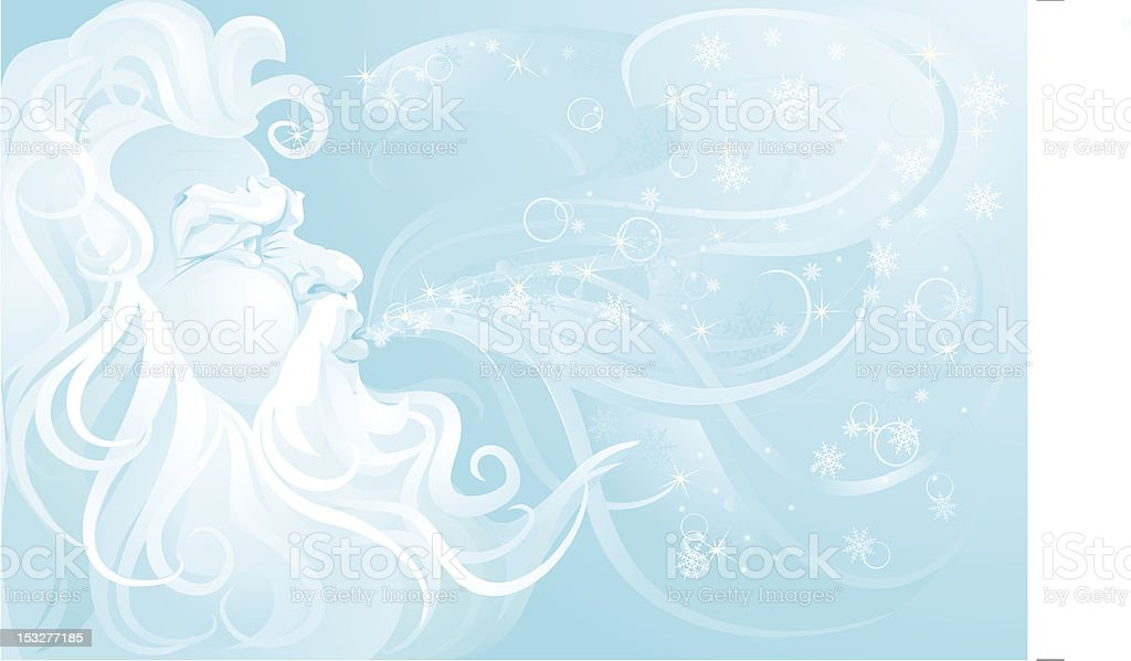 Old Man Winter blowing up a snowstorm. vector art illustration
