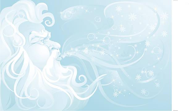 ilustrações, clipart, desenhos animados e ícones de velho homem soprando de inverno em uma tempestade de neve. - idoso