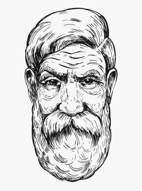 old man with a beard. hand drawn illustration converted to vector - old man faces stock illustrations, clip art, cartoons, & icons