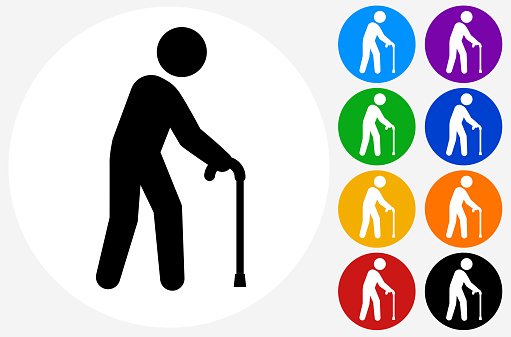 Old Man with a Cane Icon. This 100% royalty free vector illustration is featuring a white round button with a black icon. There are 5 additional alternative variations in different colors on the right.