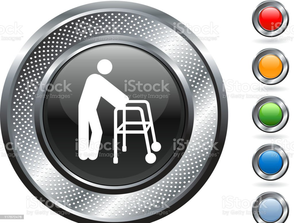 old man with a walker Vector Icon on button royalty-free old man with a walker vector icon on button stock vector art & more images of adult