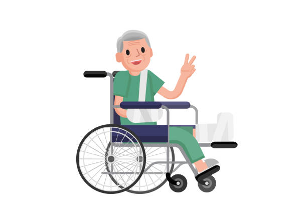 old man with broken leg sitting in the wheelchair. grandfather in a wheelchair with broken bone. vector flat design illustration. - old man sitting chair drawing stock illustrations, clip art, cartoons, & icons