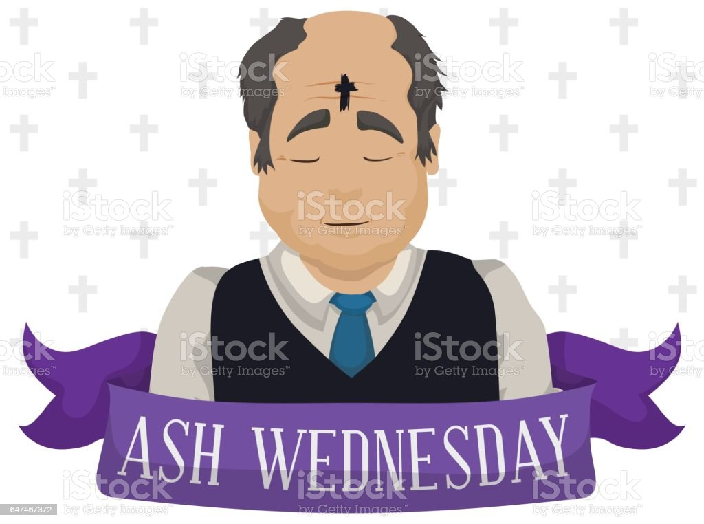 Old Man with Cross in his Forehead on Ash Wednesday