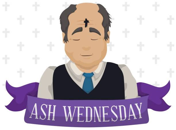 old man with cross in his forehead on ash wednesday - ash wednesday stock illustrations, clip art, cartoons, & icons