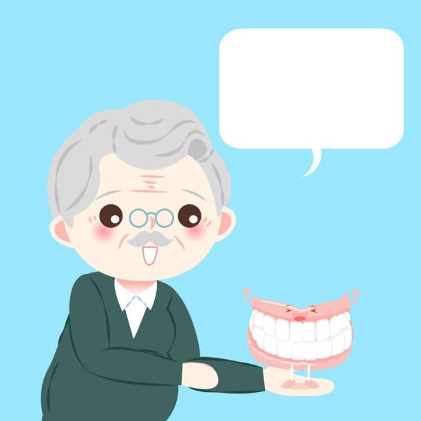 old man with denture vector art illustration