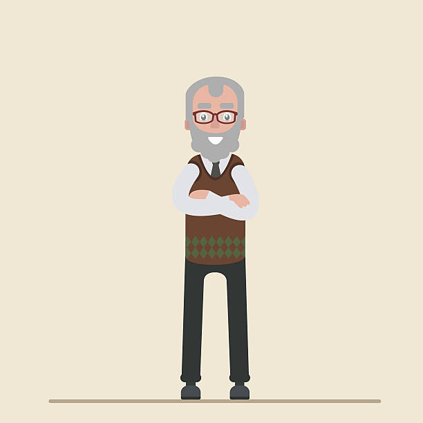 old man with glasses smiling. vector symbols on a blue - old man standing background stock illustrations, clip art, cartoons, & icons