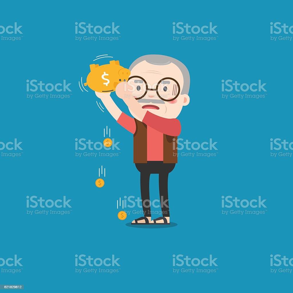 Old man with golden piggy bank, Pension vector art illustration