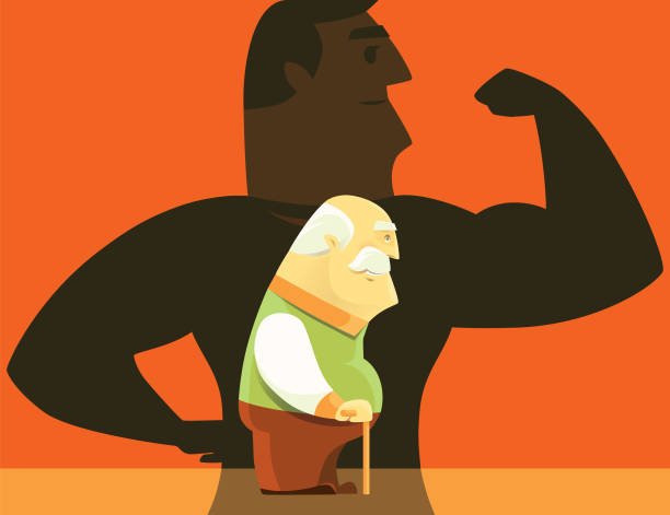 old man with healthy man shadow - old man clipart stock illustrations, clip art, cartoons, & icons