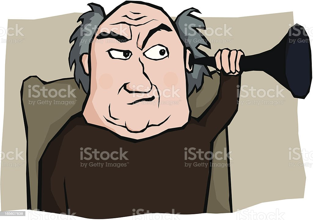 Old Man with Hearing Trumpet vector art illustration