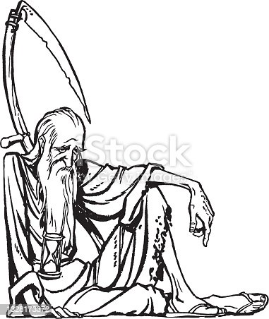 Old man with hourglass and scythe - passing time symbol