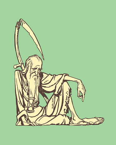 Old man with hourglass and scythe, passing time symbol