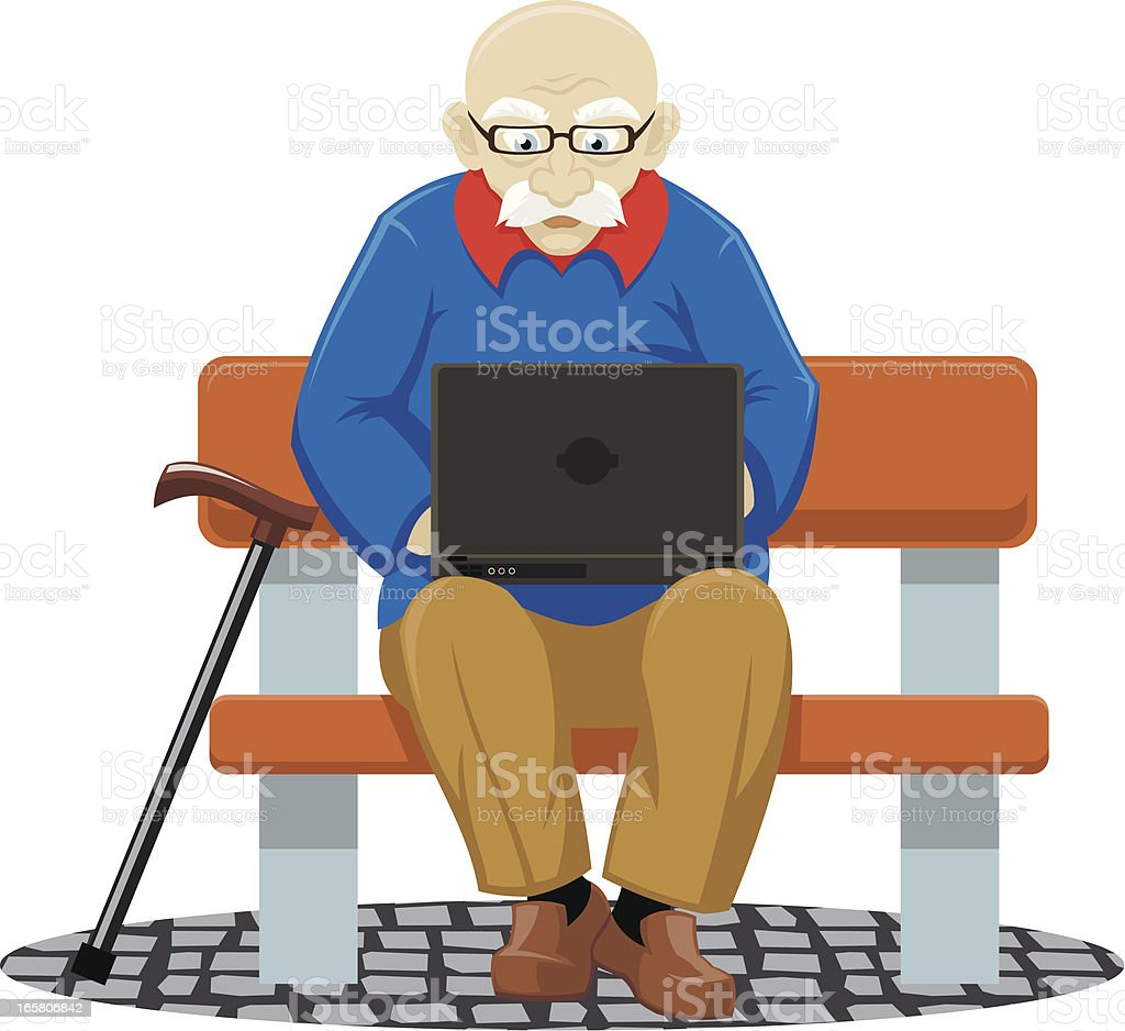 Old man with laptop royalty-free stock vector art