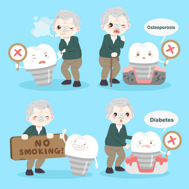 old man with tooth implant - old man showing thumbs up cartoons stock illustrations, clip art, cartoons, & icons