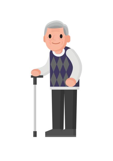 old man with walking stick standing. - old man standing background stock illustrations, clip art, cartoons, & icons