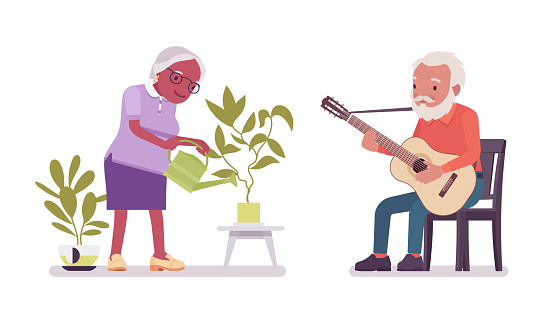 Old man, woman elderly person watering home plant, playing guitar